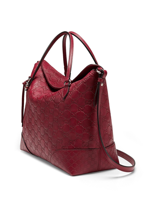 9cbe7bc2e Gucci Bree Ssima Leather Top Handle Bag in Red - Lyst