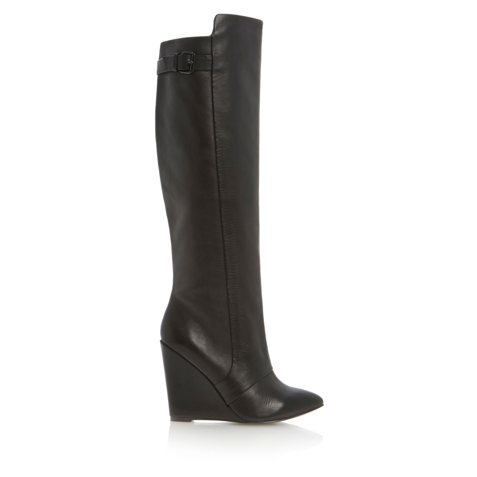steve madden zylon high leg point wedge boots in black