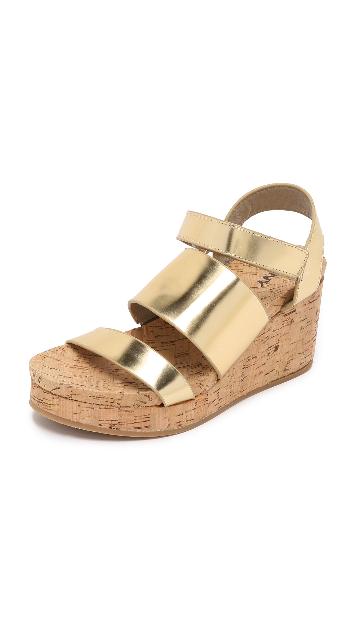 Dkny Lora Cork Wedge Sandals In Metallic Lyst