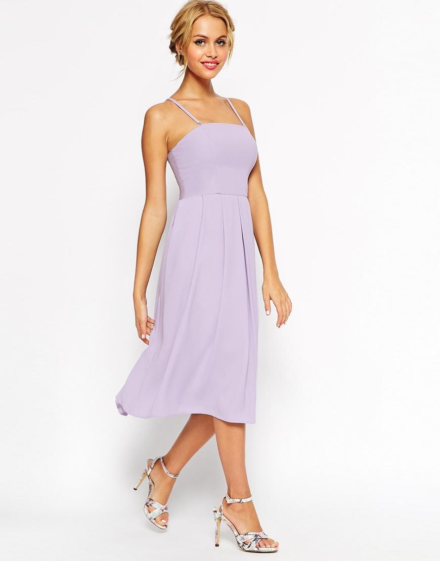Asos wedding bandeau midi dress in purple lyst for Lilac dress for wedding