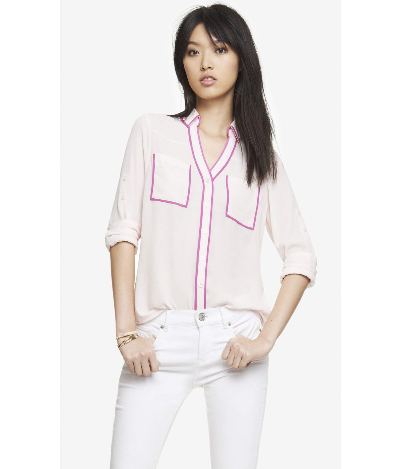1074df6112c4a1 Express Contrast Piping Portofino Shirt in Pink - Lyst