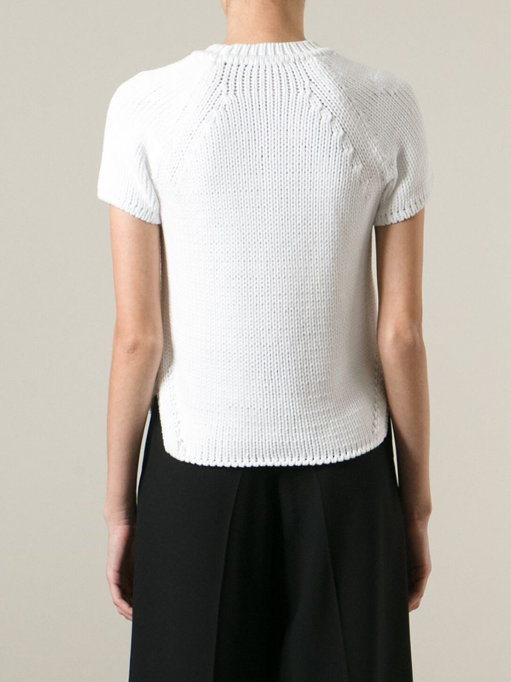 Odeeh Short Sleeve Sweater in White | Lyst