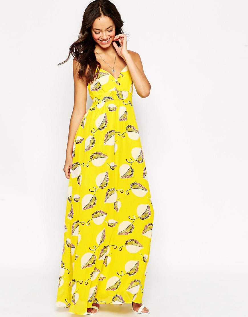 5af81b34aa08 Traffic People Cami Maxi Dress In Floral Fan Print in Yellow - Lyst