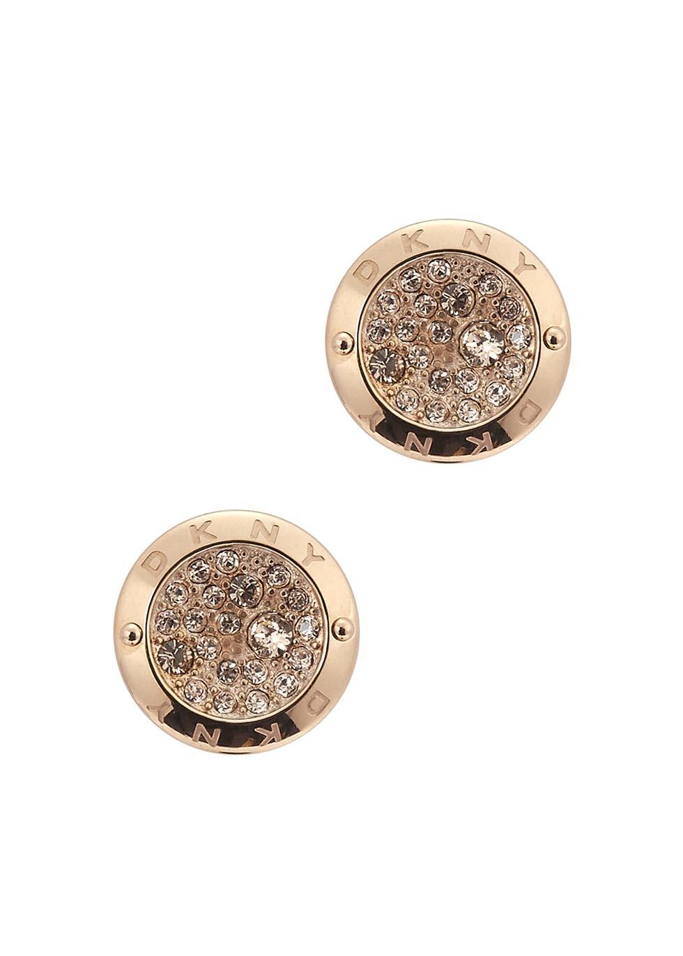 f72c16d94 DKNY Rose Gold Tone Pavé Earrings in Pink - Lyst