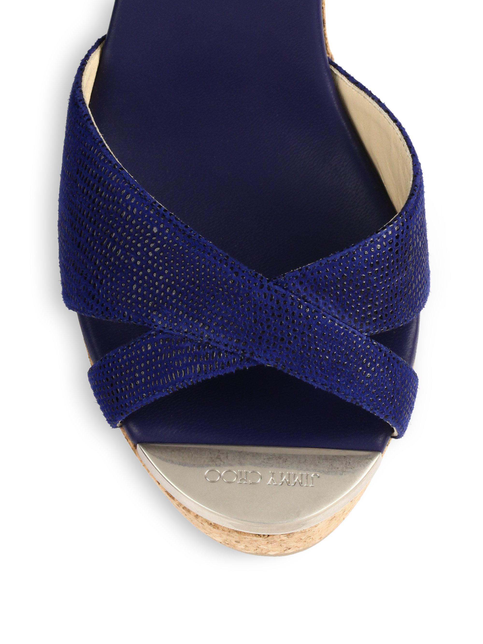 jimmy choo perfume leather cork wedge sandals in blue lyst