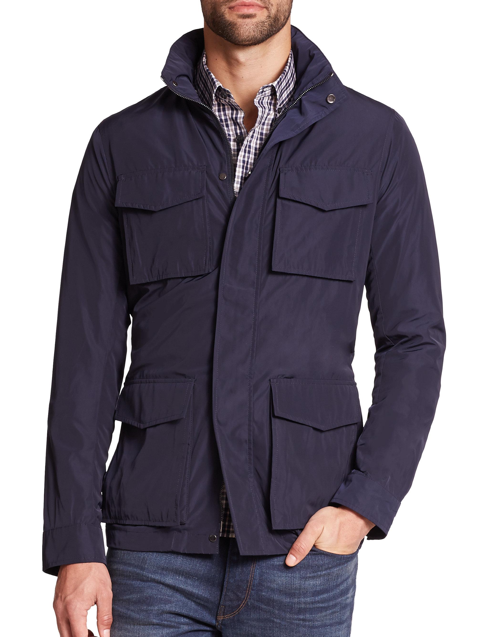 michael kors hooded utility jacket in blue for men lyst. Black Bedroom Furniture Sets. Home Design Ideas