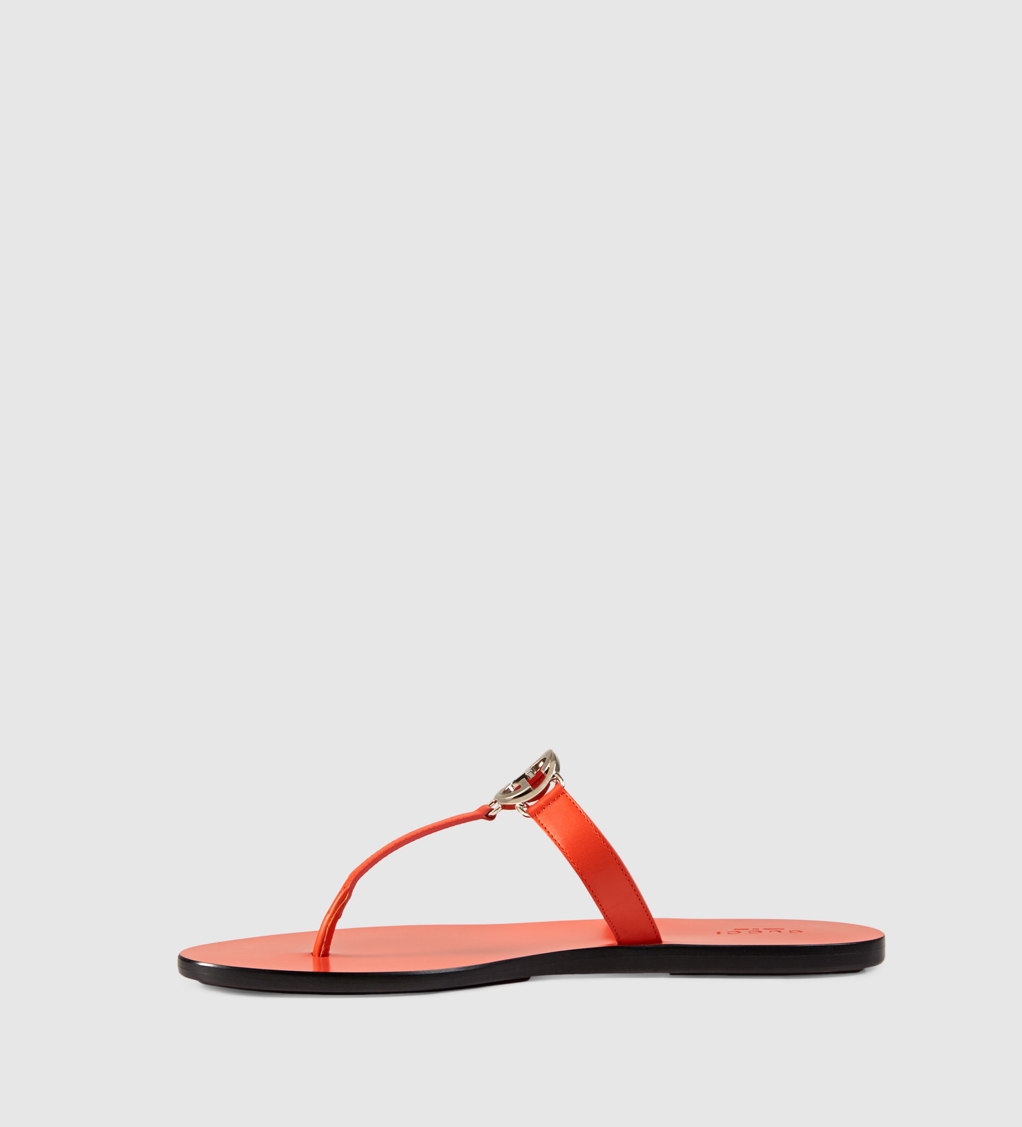2650d341ef2a Gucci Gg Thong Leather Sandal in Orange - Lyst