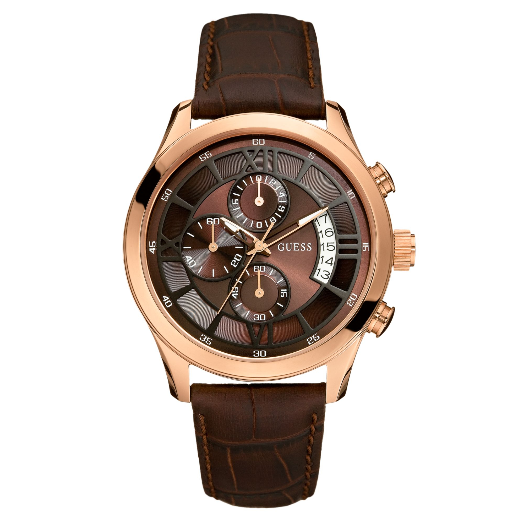 Guess Watch Mens Chronograph Brown Croc Embossed Leather ...