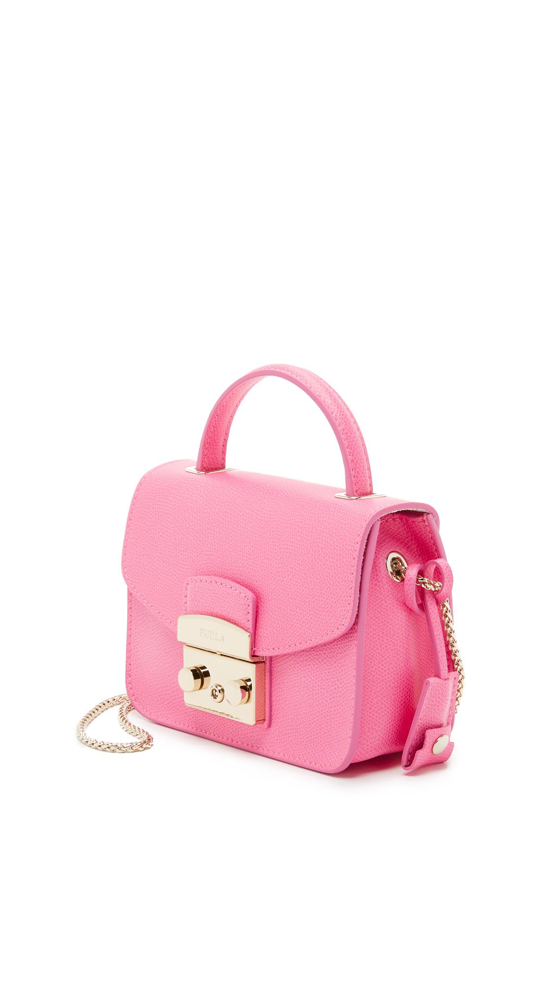 lyst furla metropolis mini cross body bag in pink. Black Bedroom Furniture Sets. Home Design Ideas