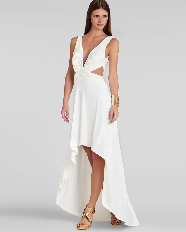 Lyst - Bcbgmaxazria Gown - Anastasia Cutout High/Low in White