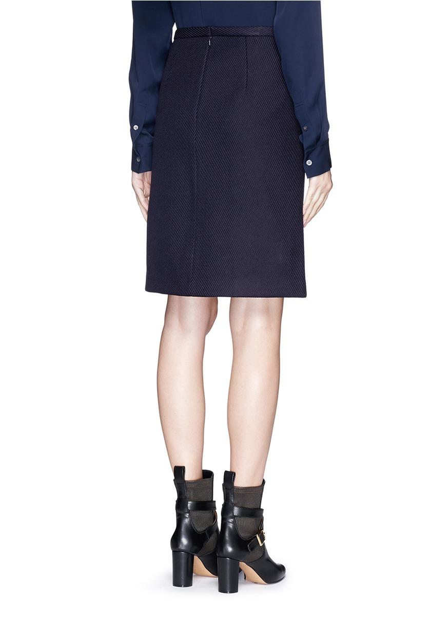 theory midi sl wool blend twill skirt in blue lyst