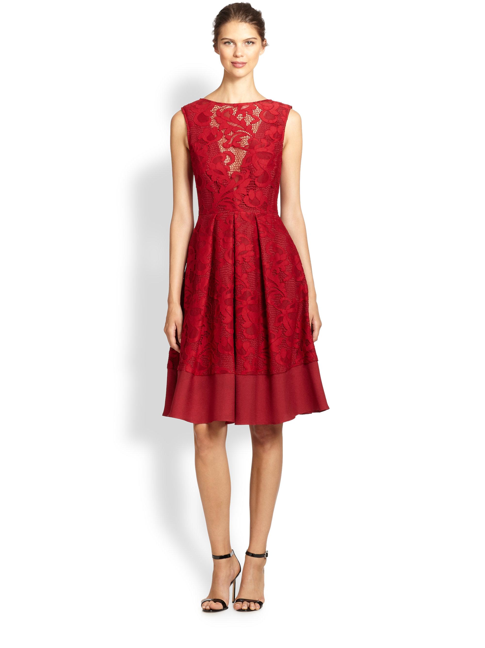 2d90fd6b67f29 ... Stretch Crepe Scuba. Abs Allen Schwartz Women S Ed Dress With Choker  Neckline In. Gallery. Lyst Abs By Allen Schwartz Flared Lace Overlay Dress  In Red