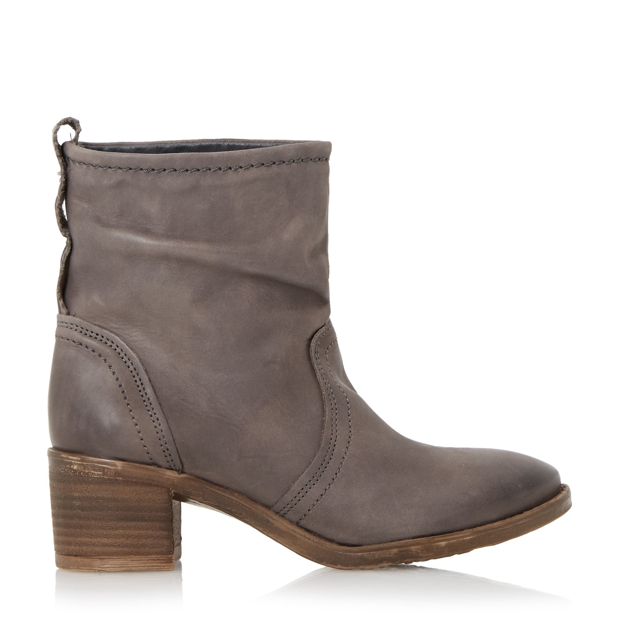 dune polizzi rouched ankle boots in brown grey save 1