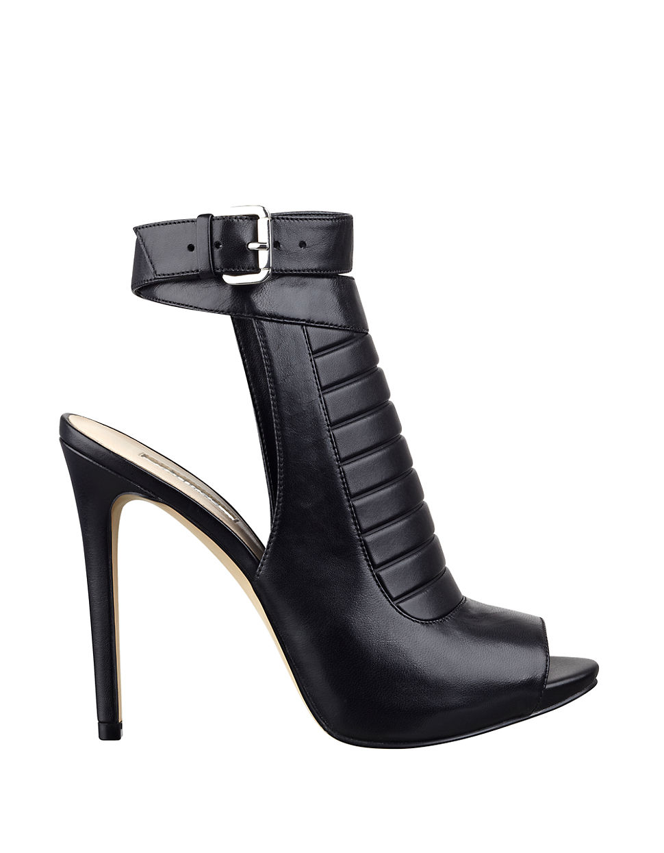 guess analae high heel leather booties in black lyst. Black Bedroom Furniture Sets. Home Design Ideas