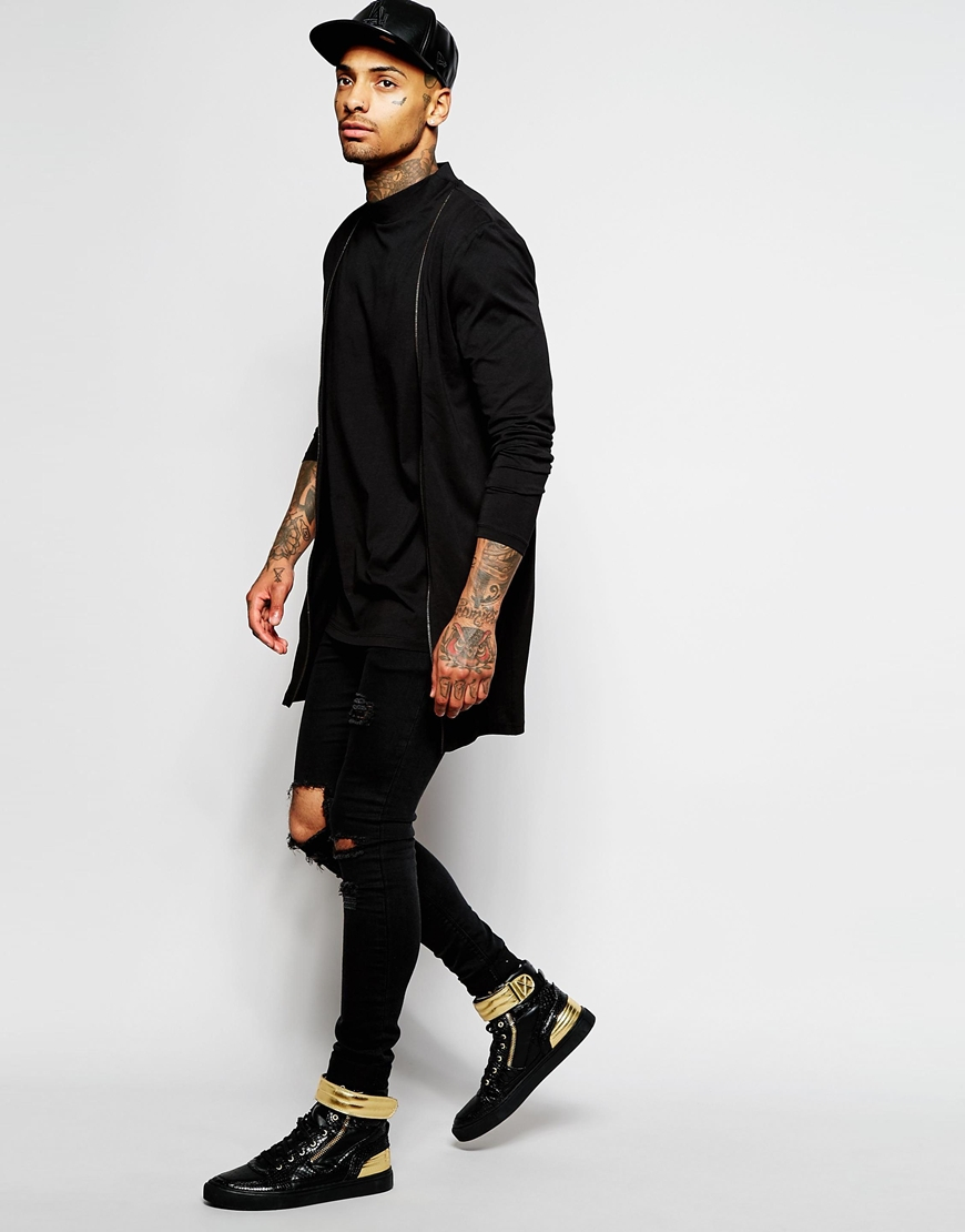 56bc3d75bd7f ASOS Super Longline Long Sleeve T-shirt With Turtle Neck And Double ...