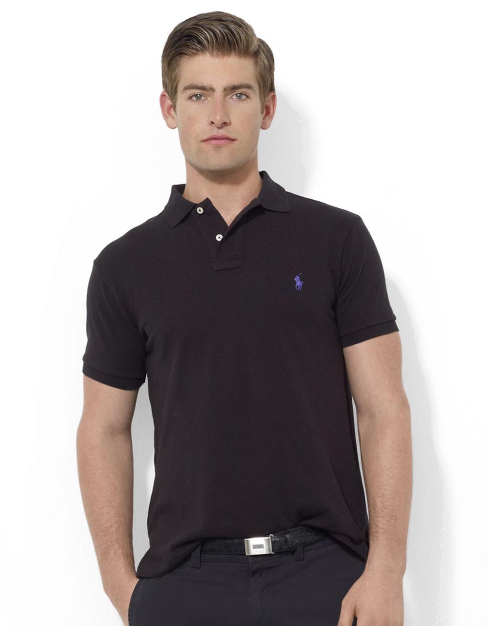 Polo Ralph Lauren Slim Custom Fit Mesh Polo In Black For