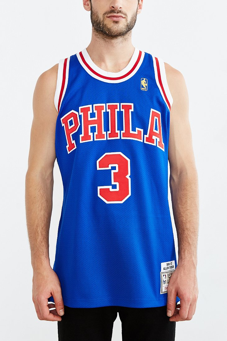 quality design 2dace 6b4f4 Mitchell & Ness Blue Allen Iverson 76ers Jersey for men