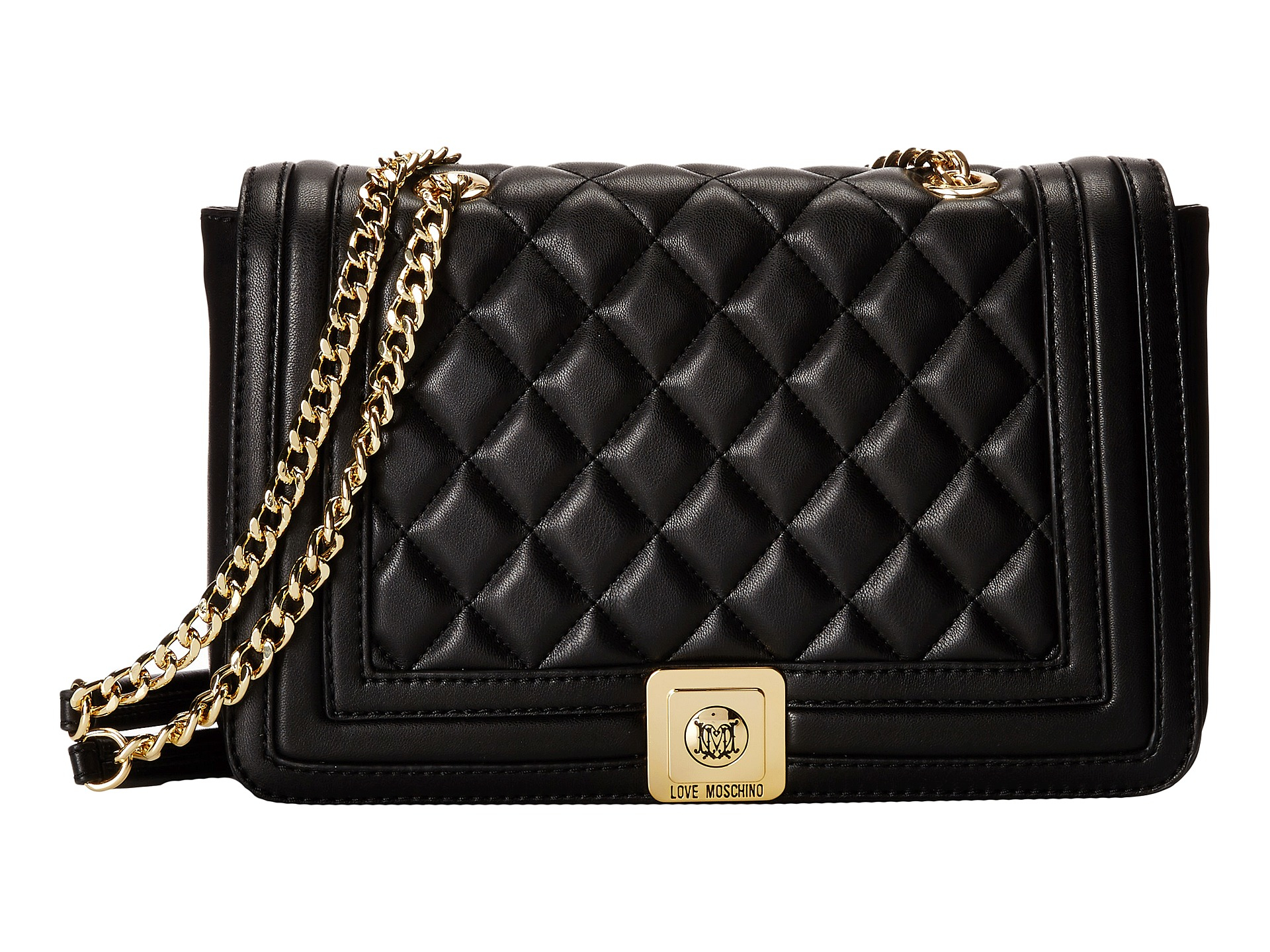 4c90974ef473 Lyst - Love Moschino Quilted Flap Vers Crossbody Bag in Black