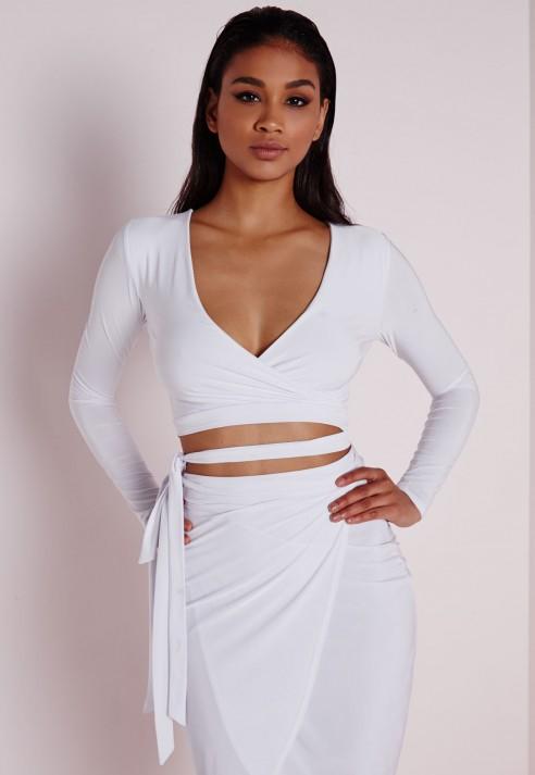 7f418931518 Missguided Tie Waist Slinky Crop Top White in White - Lyst
