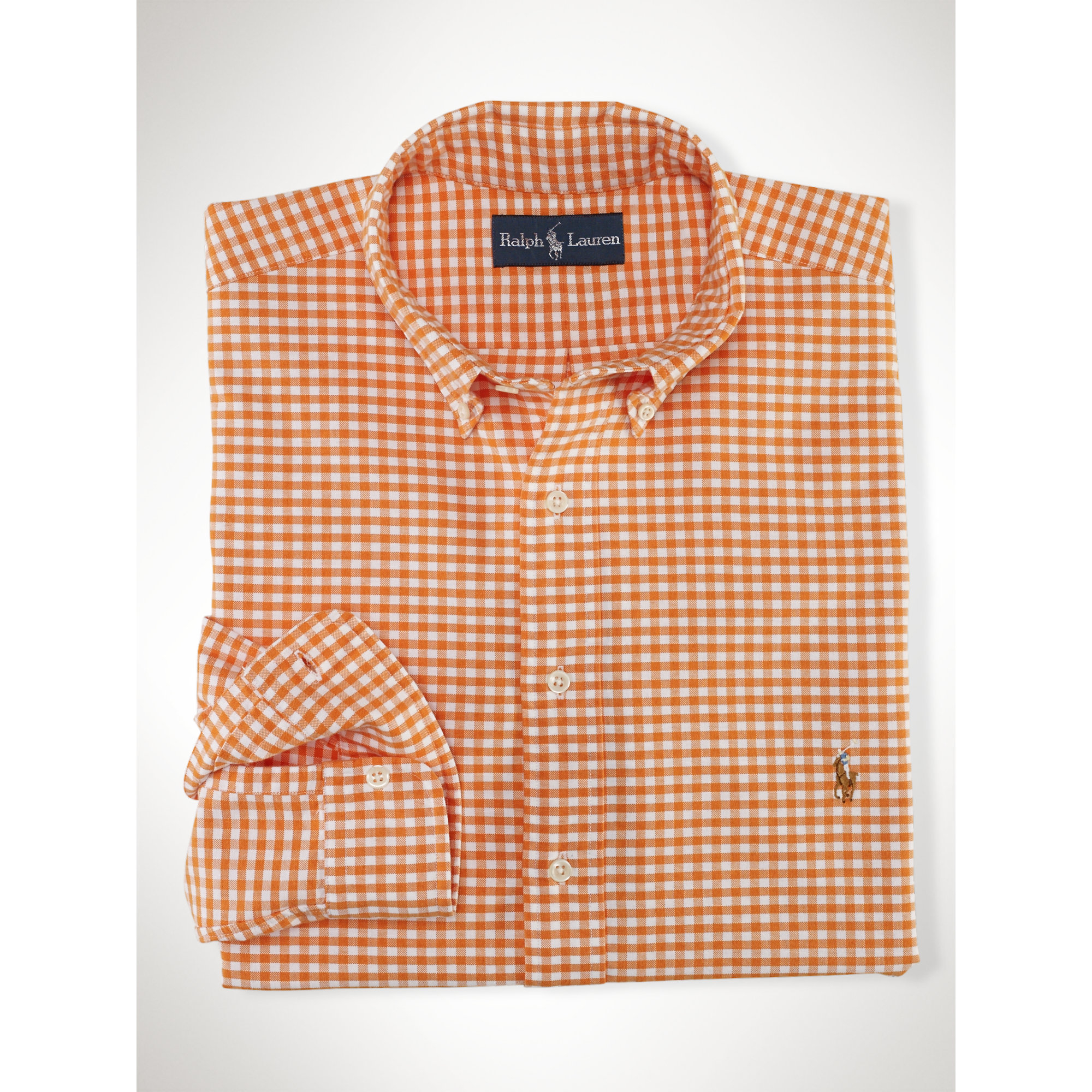 Polo Ralph Lauren Classic Gingham Oxford Shirt In Orange