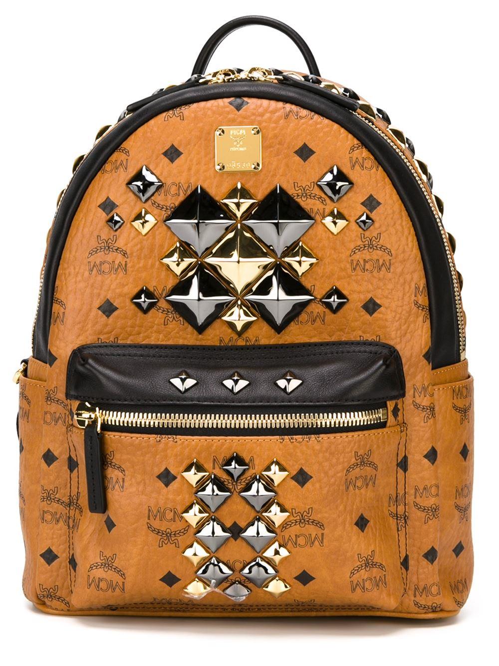 mcm small 39 stark brock 39 backpack in brown lyst. Black Bedroom Furniture Sets. Home Design Ideas