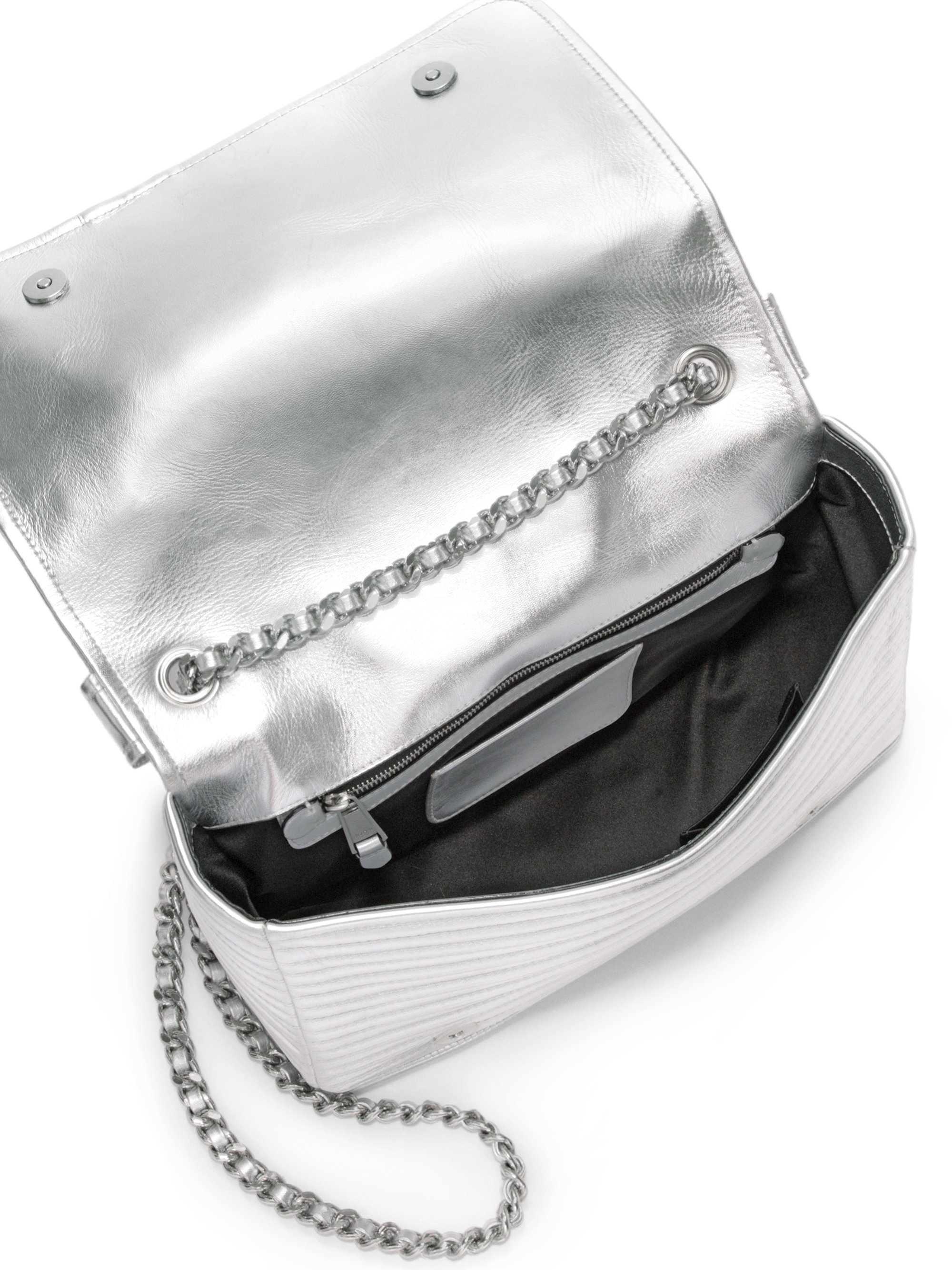 ec598ccc4 Moschino Moto Jacket Metallic Faux Leather Crossbody Bag in Metallic ...