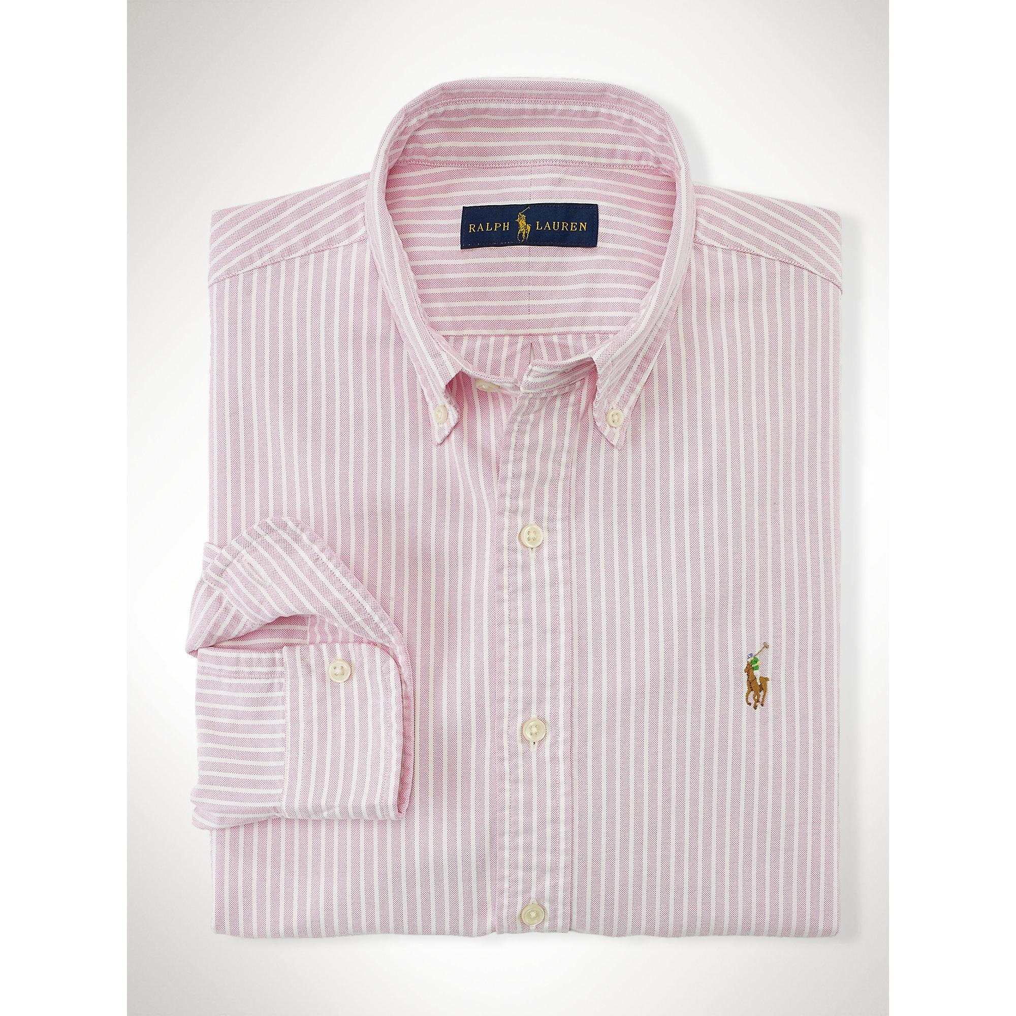 Polo ralph lauren striped oxford sport shirt in pink for for Pink and white ralph lauren shirt