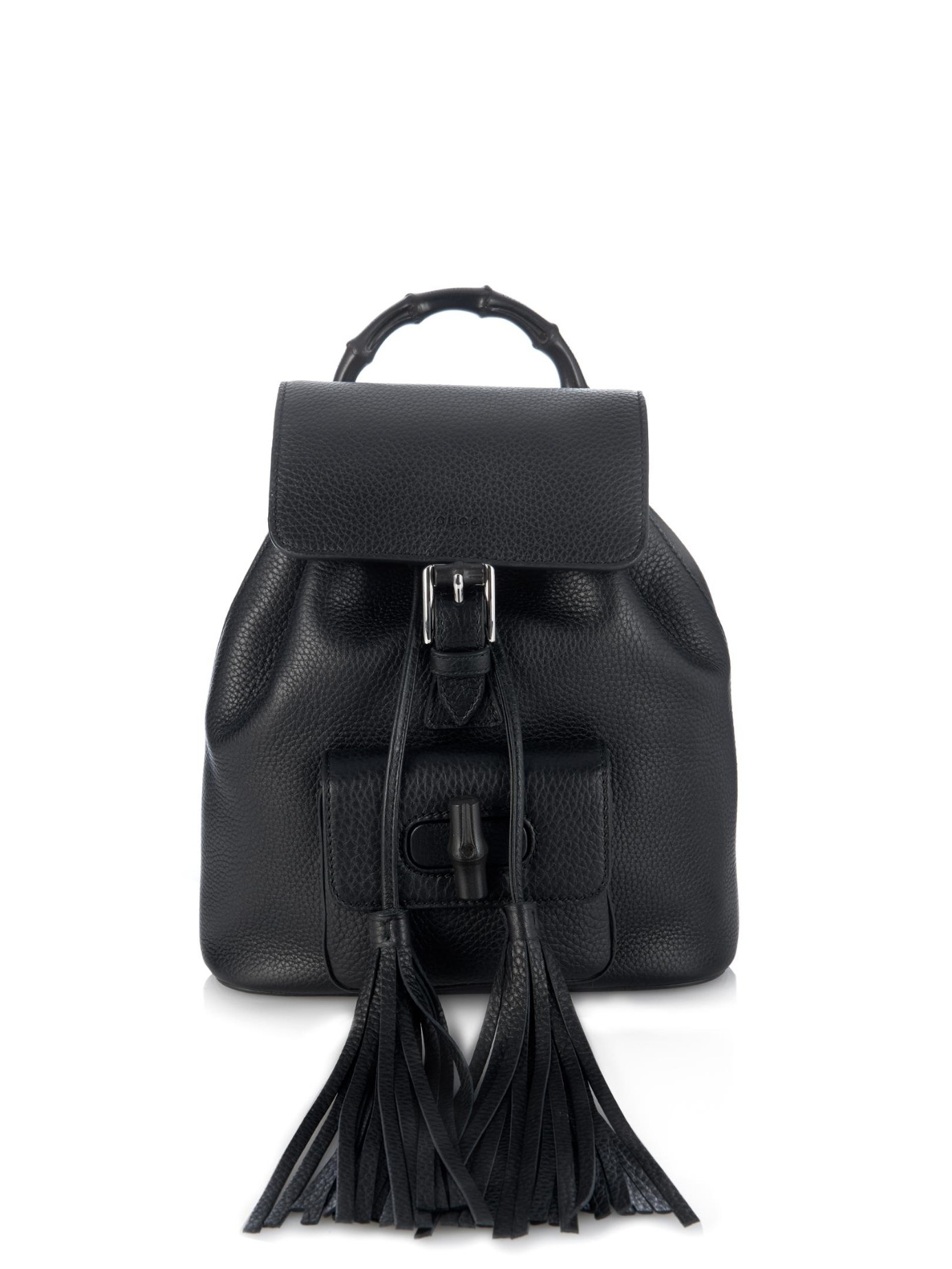 c2a99dd90d8 Lyst - Gucci Bamboo Mini Leather Backpack in Black