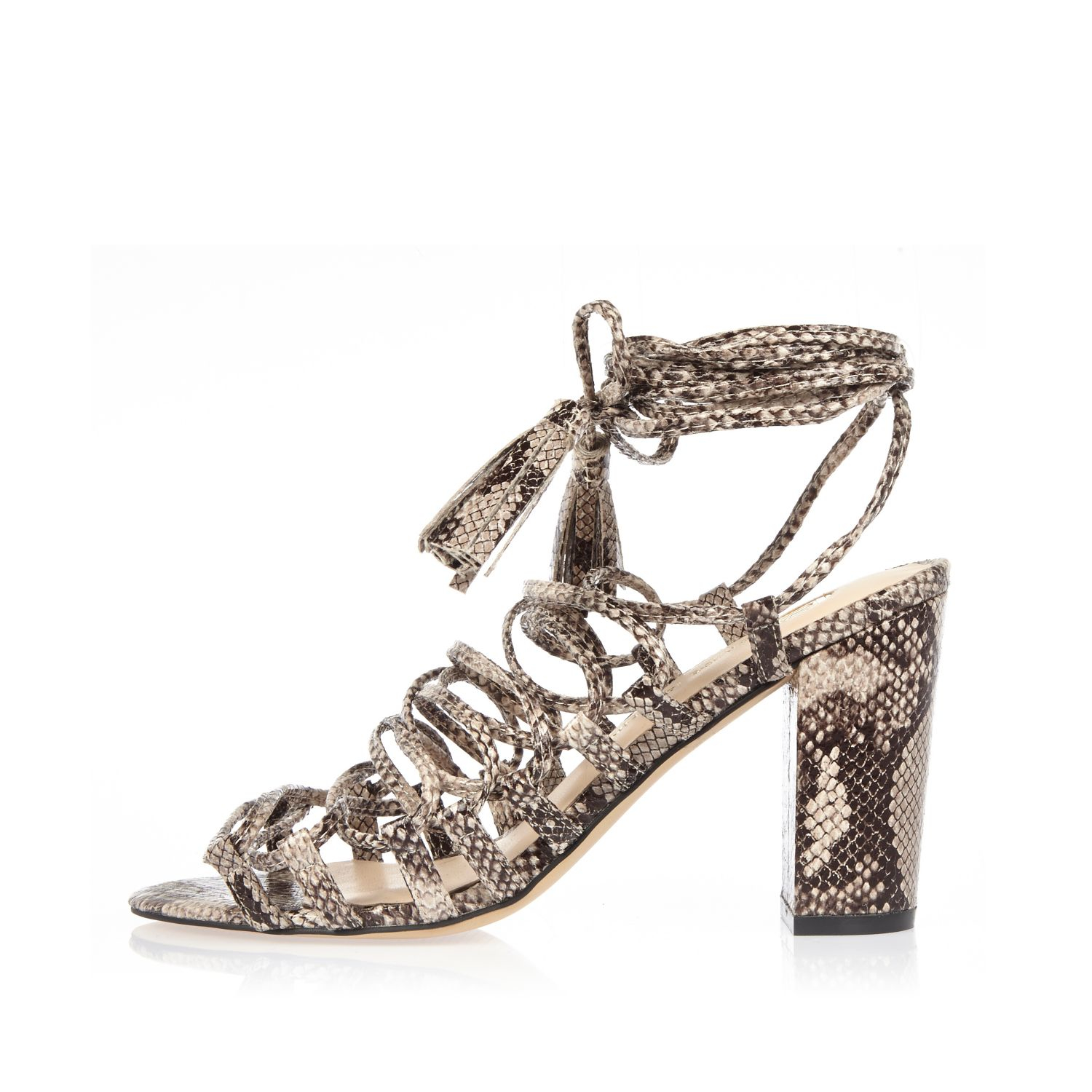 0530e66fe605 Lyst - River Island Grey Snake Print Lace-up Block Heel Sandals in Gray