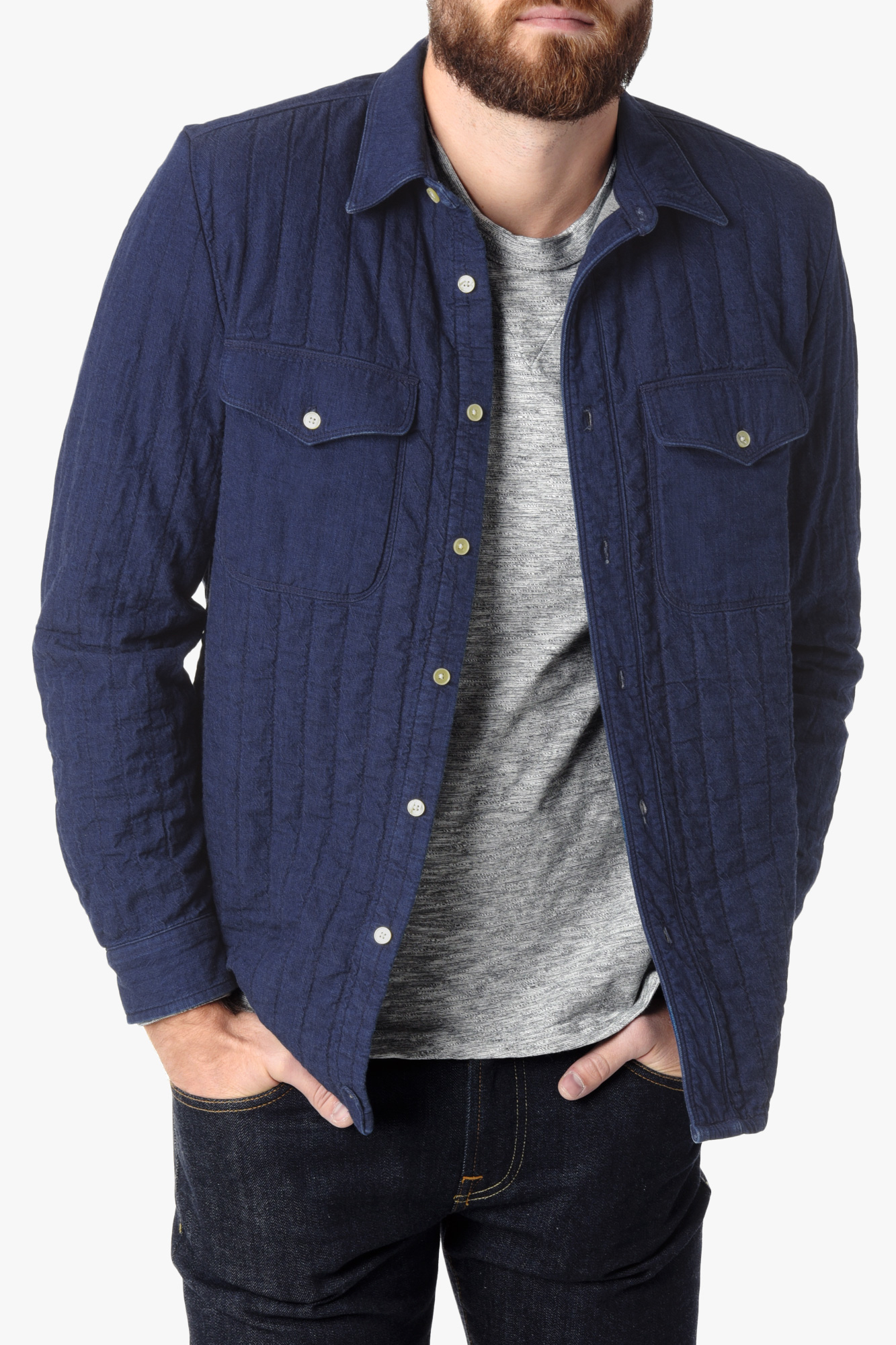 7 for all mankind Quilted Denim Shirt Jacket In Indigo in Blue for