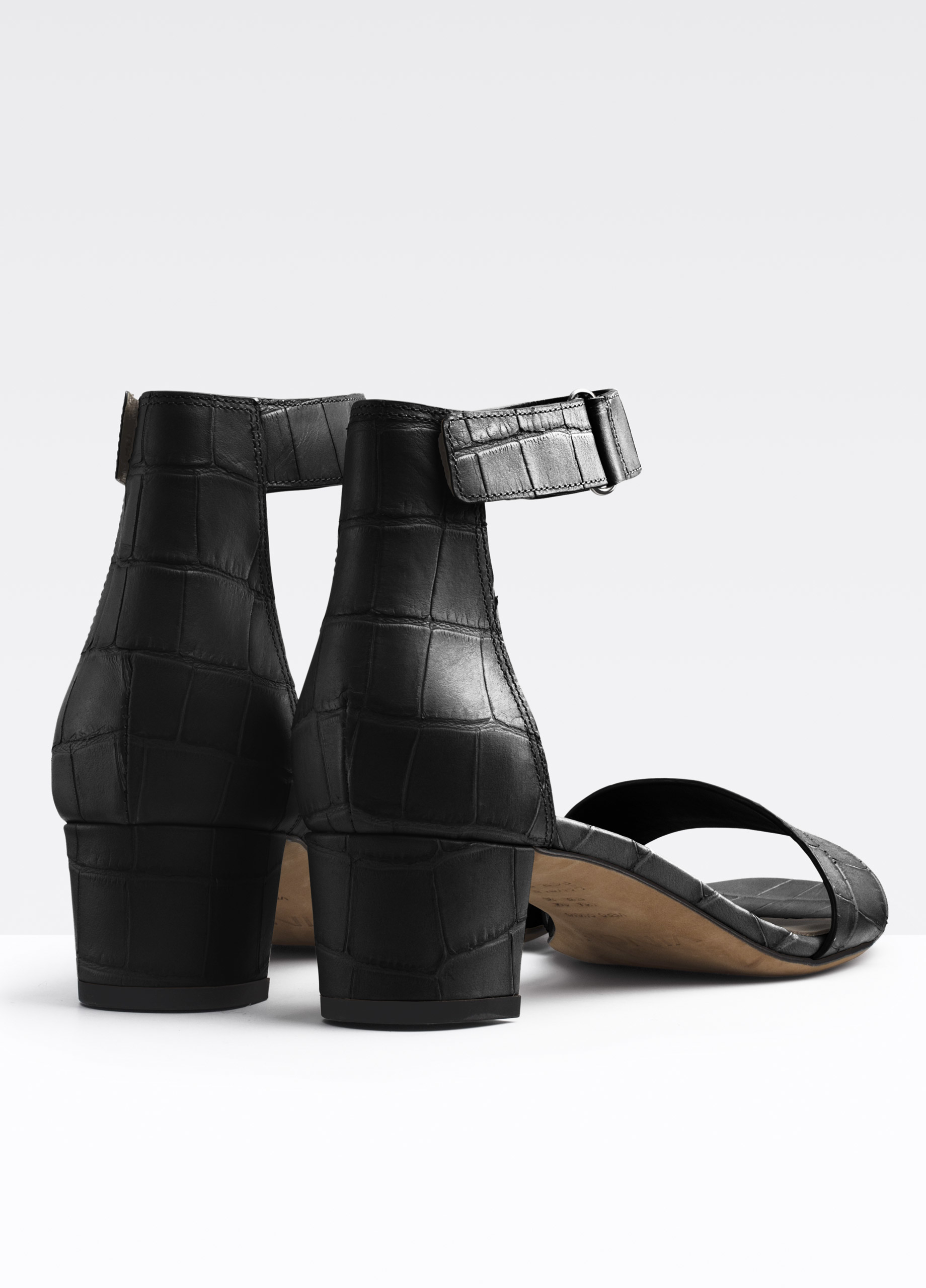 Vince Rita Croc Printed Leather City Sandal In Black Lyst
