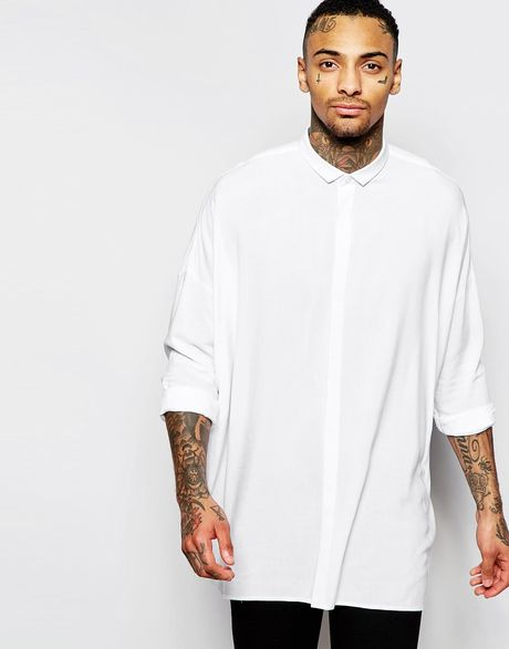 asos oversized shirt with dropped shoulder in white in. Black Bedroom Furniture Sets. Home Design Ideas