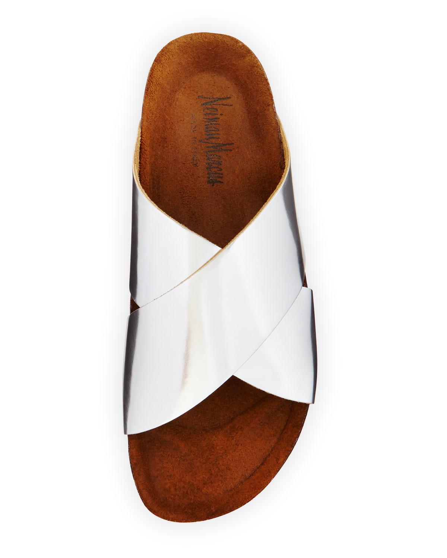 Neiman Marcus Brenda Crisscross Slide Sandal In Metallic
