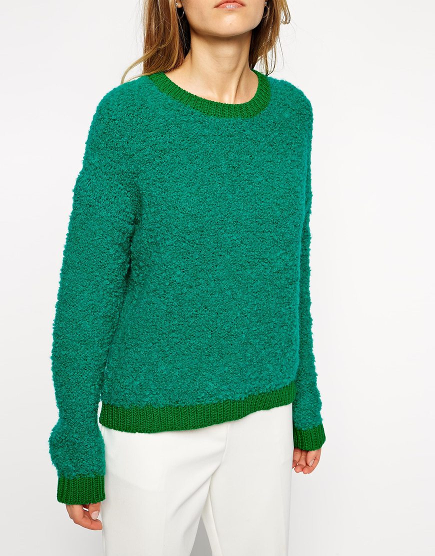 lyst asos sweater in textured yarn with contrast trims