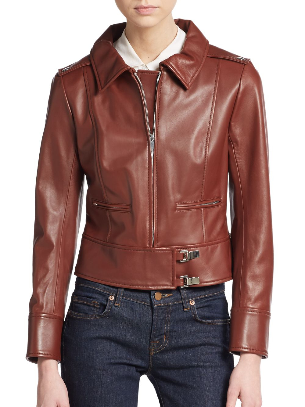 Courreges Cropped Leather Moto Jacket in Brown - Lyst