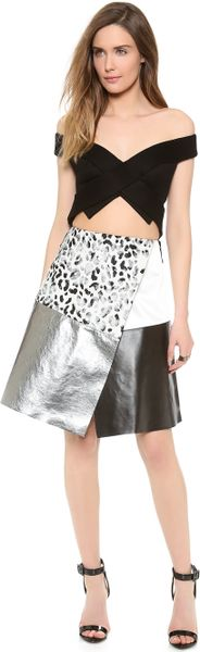 Josh Goot Off The Shoulder Dress in Silver (Silver Leopard) - Lyst