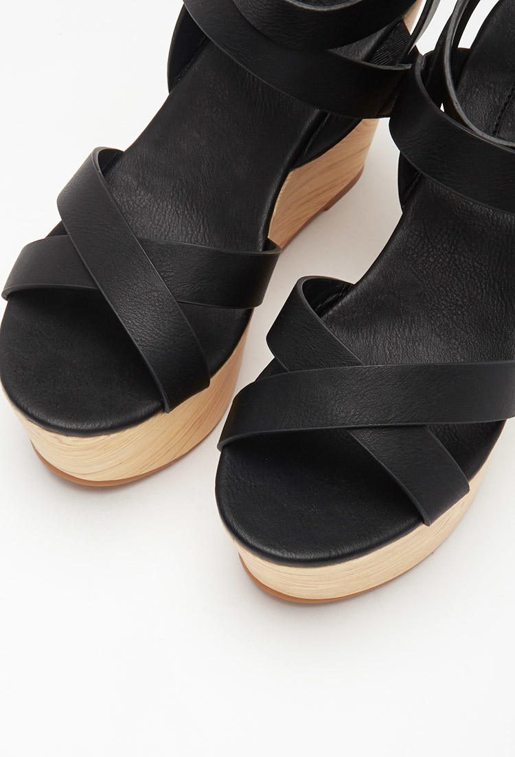 Forever 21 Classic Strappy Wedges in Black | Lyst