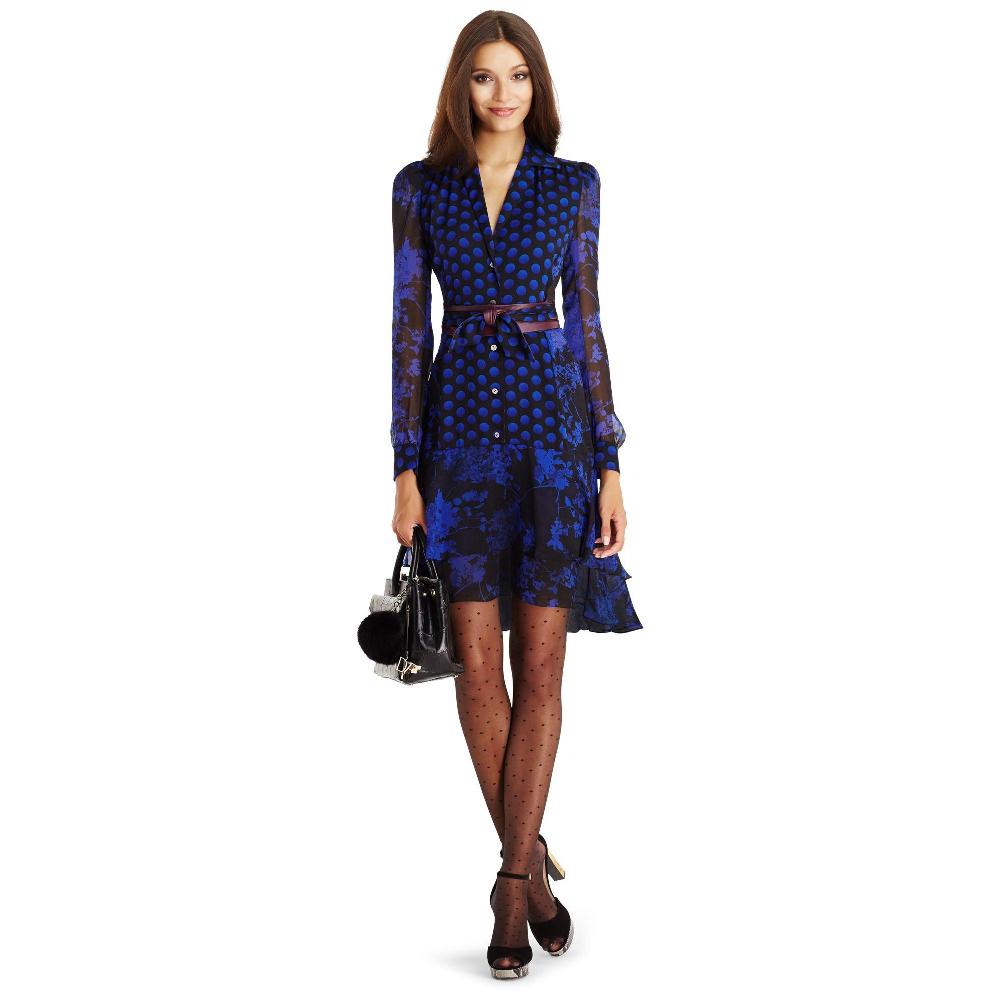 36b8d65fabe565 Lyst - Diane von Furstenberg Dvf Catherine Chiffon Shirt Dress in Blue
