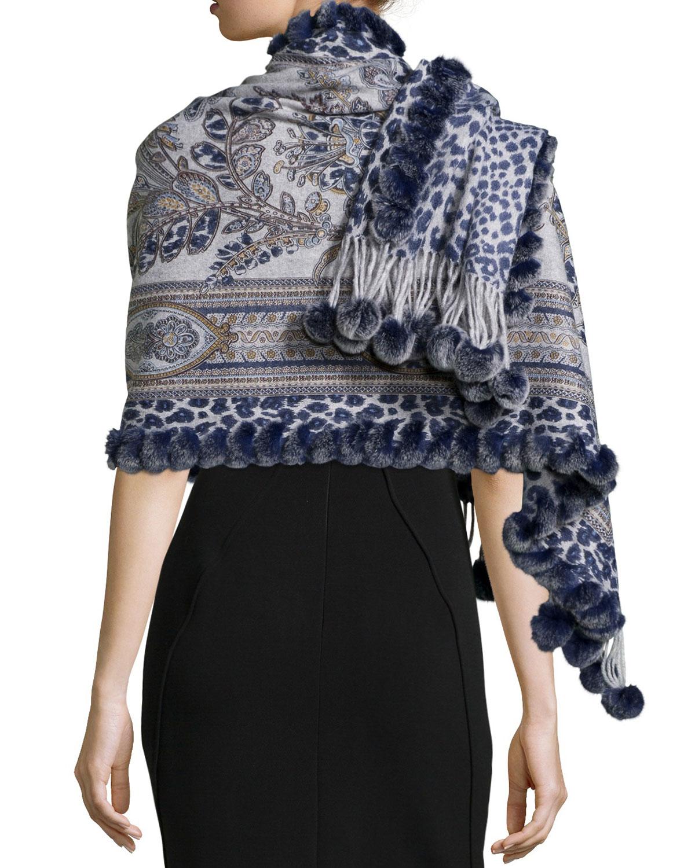 Gorski Reversible Cashmere Fur-trim Wrap In Blue