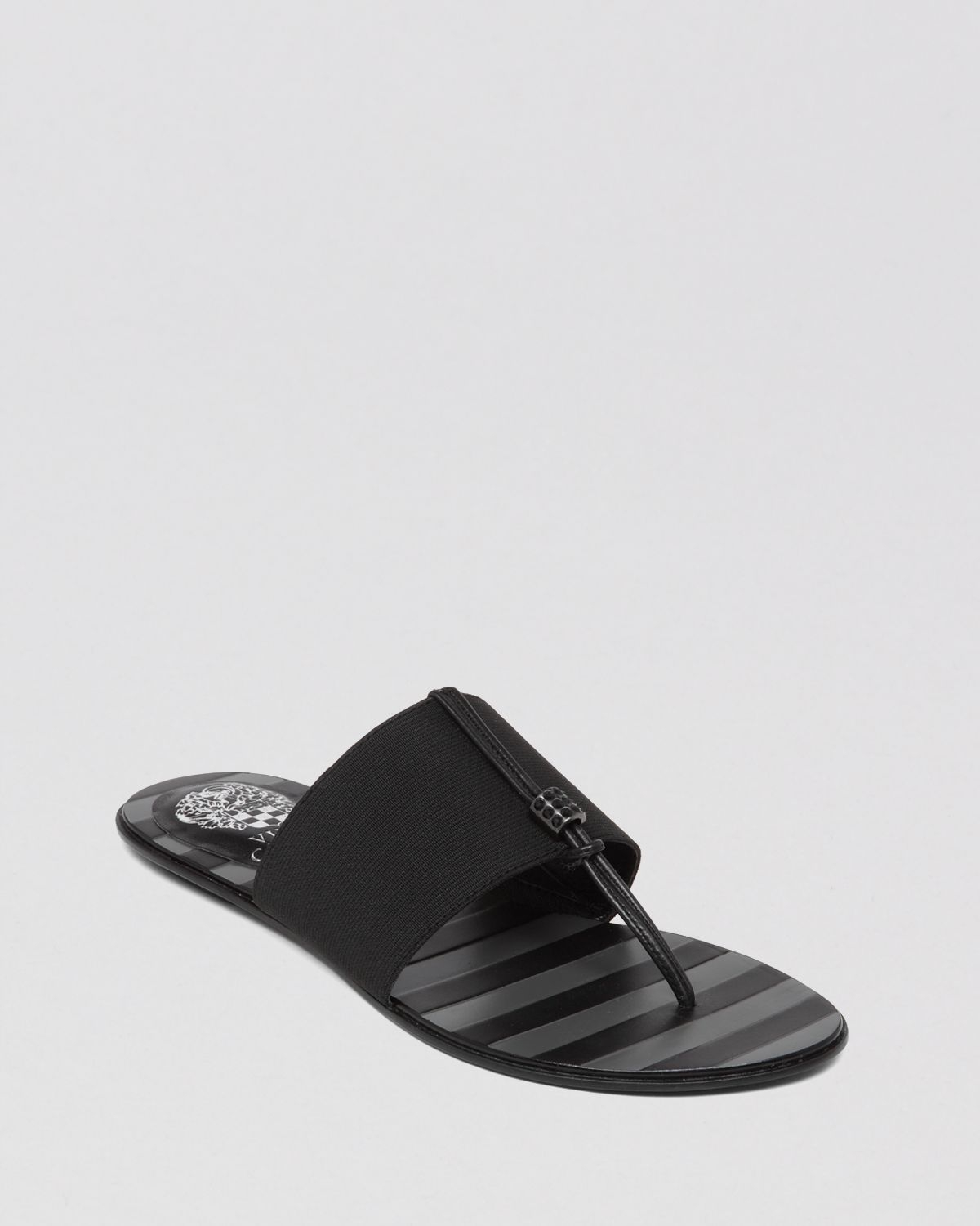 Vince Camuto Flat Stretch Thong Sandals Wayne In Black