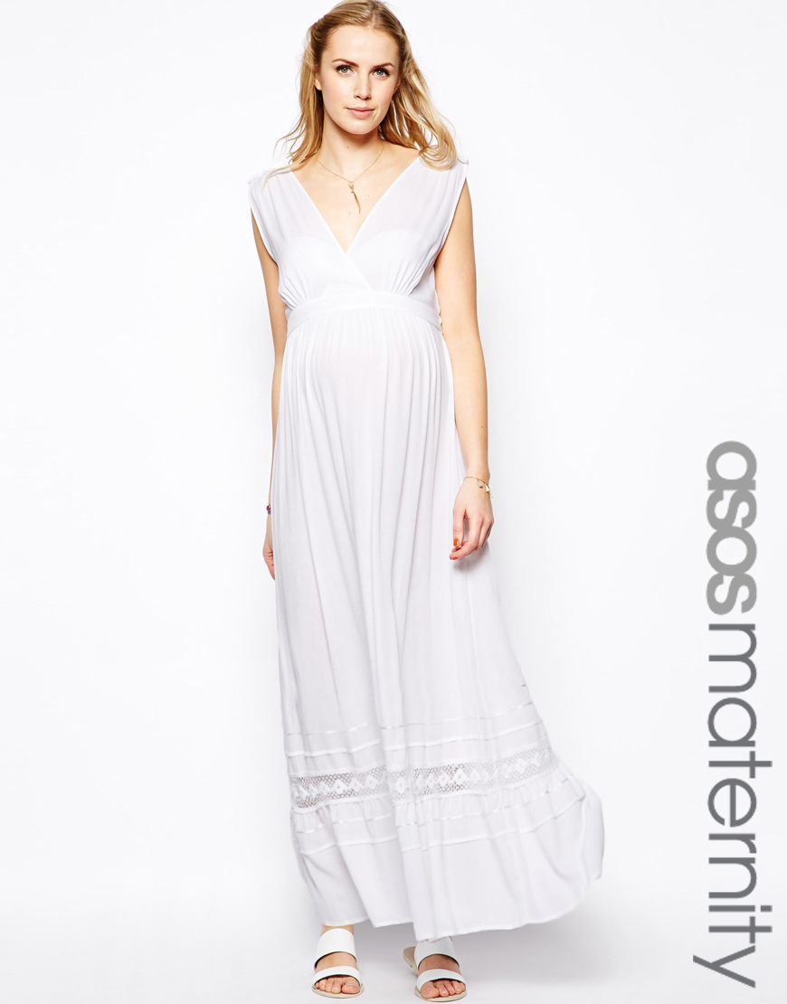 lyst asos exclusive maxi dress in cheesecloth in white. Black Bedroom Furniture Sets. Home Design Ideas