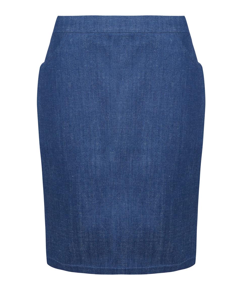 a p c blue denim stretch mini skirt in blue lyst