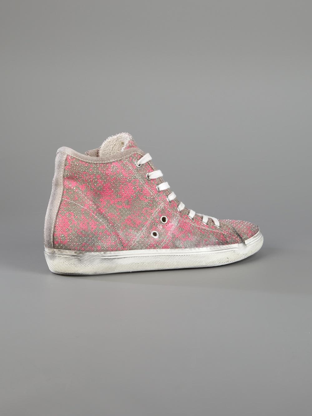 Leather Crown High Top Sneaker in Pink & Purple (Pink)