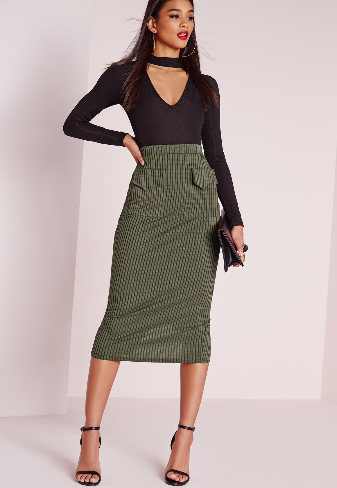 missguided utility pocket midi skirt khaki in lyst