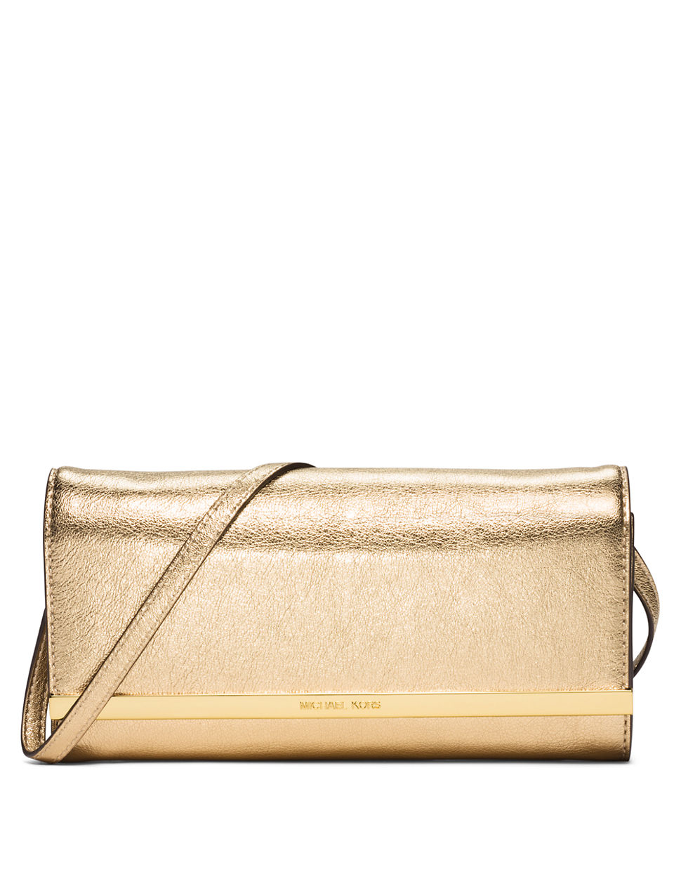 michael michael kors lana leather clutch in gold pale gold lyst. Black Bedroom Furniture Sets. Home Design Ideas