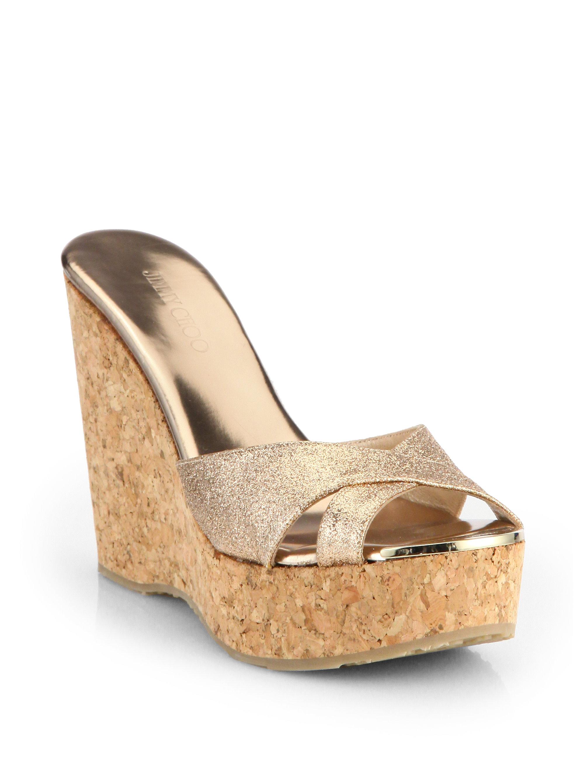 ee4468ec2ce ... womens shoes gold 9c700 ba4b0  czech jimmy choo perfume glitter cork wedge  sandals in pink lyst 465d6 c860b