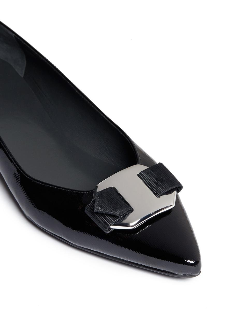 Stuart Weitzman Lola Metal Buckle Patent Leather Flats