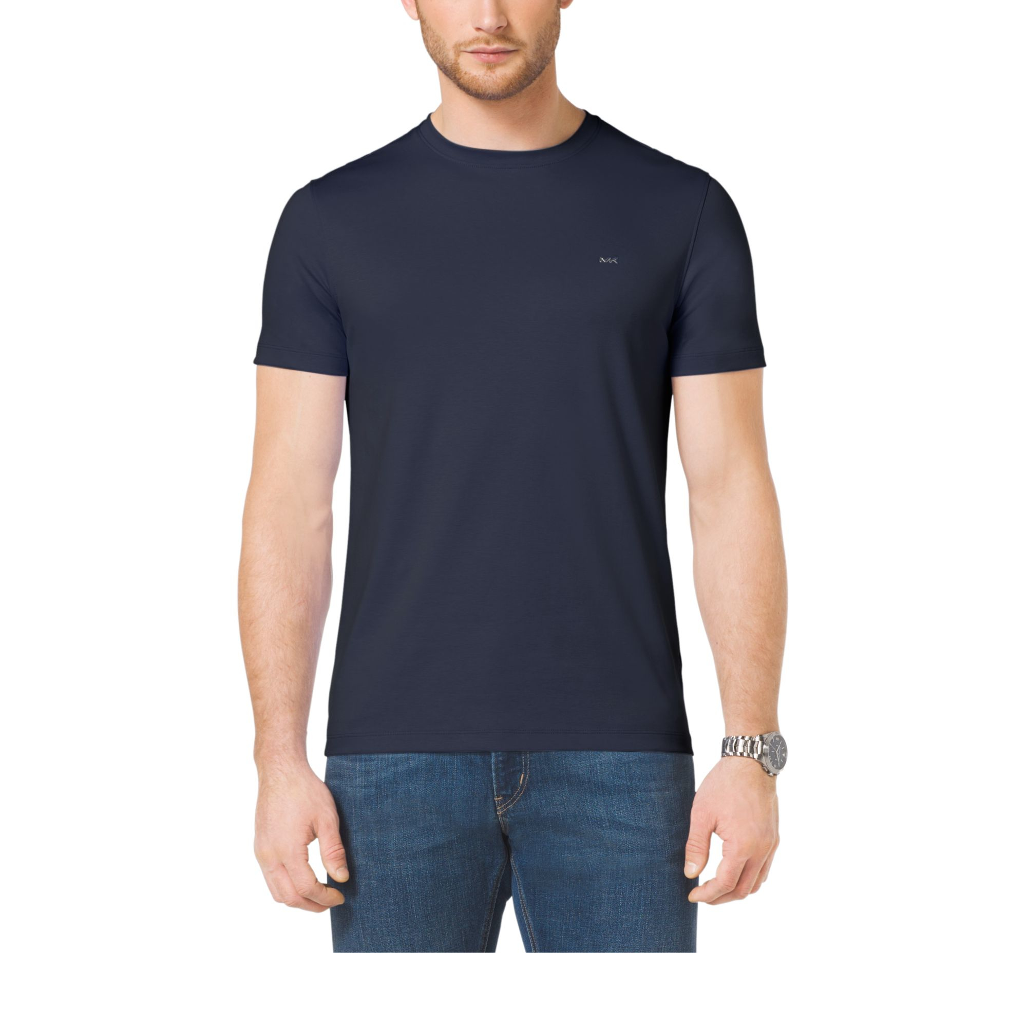 michael kors cotton crewneck t shirt in blue for men. Black Bedroom Furniture Sets. Home Design Ideas