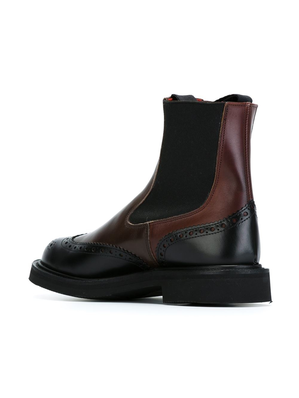 tricker 39 s brogue detail chelsea boots in brown lyst. Black Bedroom Furniture Sets. Home Design Ideas