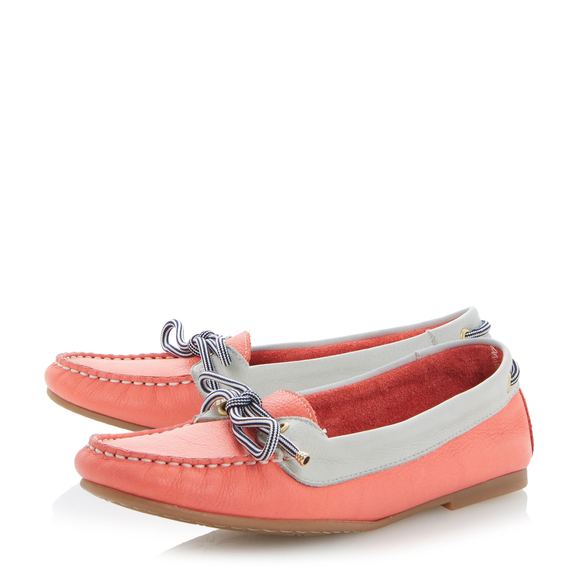 dune lautical suede toe flat deck shoes in pink lyst